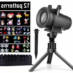 12 Pattern Motion Christmas Landscape Lights Projector LED W