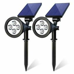 2 Pack Solar Powered 4 LED Spot Light Waterproof 180 ° Adju