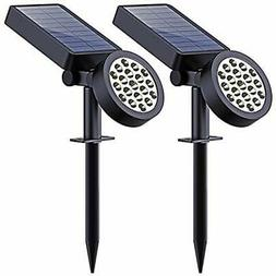 2 Solar Yard Spotlights Lights Outdoor, 19 LED Spotlights-Wa