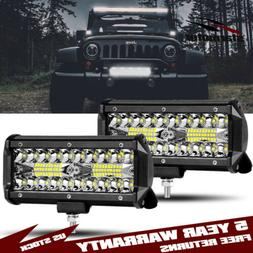 2pcs 7 inch 800W LED Work Lights Pods Spot Flood Combo Offro
