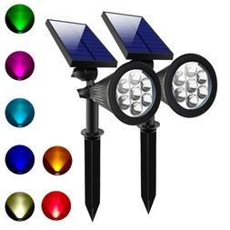 2x Outdoor Solar 7 Color Changing LED Spot Light Garden Land
