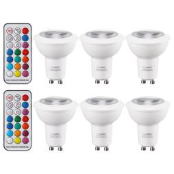 3W Multi-Color GU10 LED Dimmable Spotlight Bulbs + 2 IR Remo
