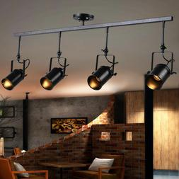 4 Heads Modern Industrial Ceiling Lamp Adjustable Track Ligh