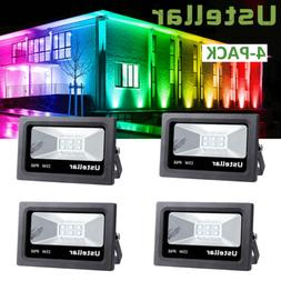 4 Pack 15W RGB LED Flood Lights Stage Light Waterproof Outdo