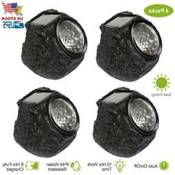 4Packs Solar Rock Lights Outdoor Solar Garden Lights Stone S