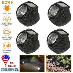 4x Solar Powered Rock Spotlights Garden Yard Lawn Landscape