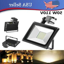 50W LED Bulb Flood Lights Warm White PIR Motion Sensor Spotl