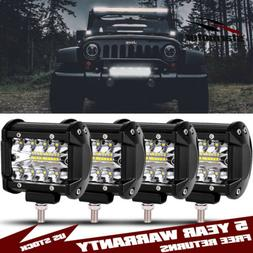 800W 4pcs 4 inch LED Work Lights Pods Cube Spot Flood Combo