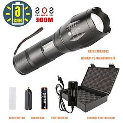 Bright Flashlight Kit with Rechargeable Battery, COSOOS 1000
