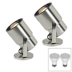 "Pro Track Brushed Steel 8"" High LED Accent Uplight Set of 2"