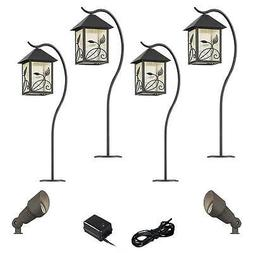French Garden Bronze 8-Piece LED Path and Spot Light Set