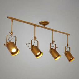 Industrial Retro 4 Light Gold Track Ceiling Lamp Spotlight P