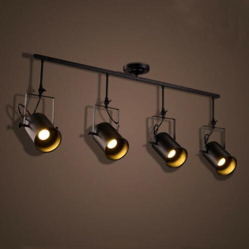 Retro Industrial 4 Lights Edison Track LED Ceiling Lamp Stag