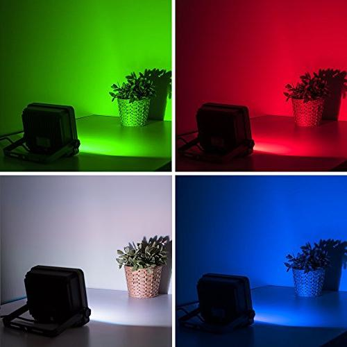 LOFTEK 50W LED Light, RGB Spotlight Remote Control, IP66 and UL 16 Changing and 6 for Outdoor Decoration, NOVA S Silver