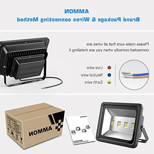 AMMON LED Flood 200W IP65 Lamp Spotlight Daylight for Garden Party, Playground