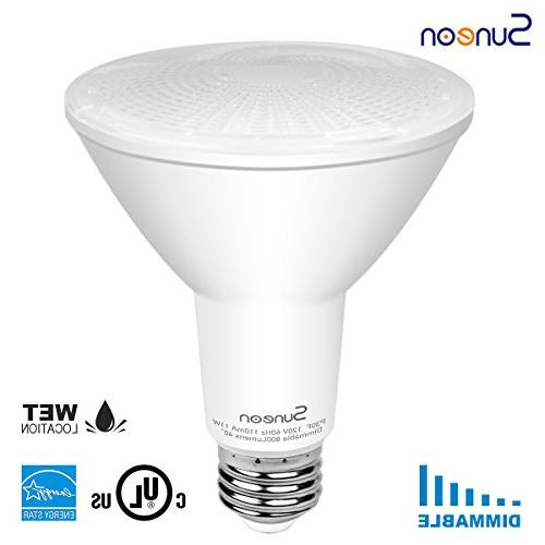 SUNEON 4-Pack Bulbs neck 5000k Daylight Spotlight Dimmable - 11w 75w Equivalent Ul-listed