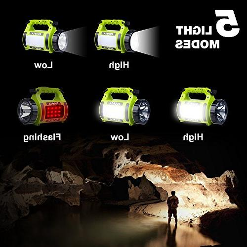 EULOCA Rechargeable CREE Spotlight, Multi Function Outdoor Camping Lantern Flashlight, Power Bank, Work LED Searchlight with Cable, for Emergency