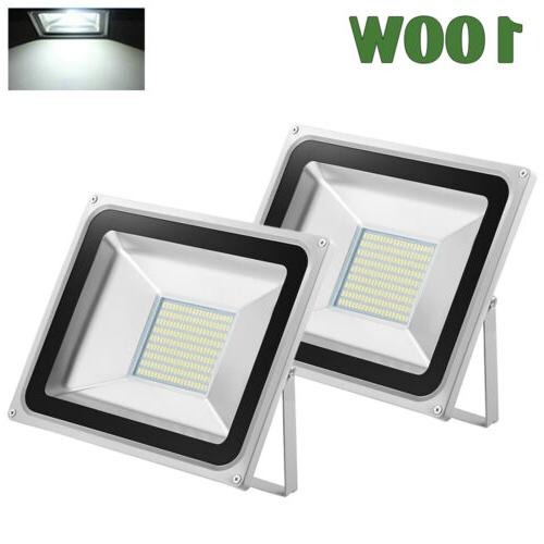 2Pcs 100W LED Flood light Cool White Lamp Outdoor Spotlight