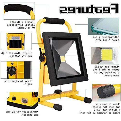 Spotlights LED Work Lights Portable LED Camping Floodlight With Lithium Batteries,