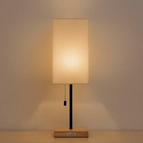 square nightstand lamp wooden base desk lamp