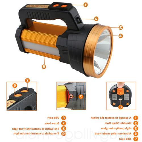 Super Bright LED Searchlight Rechargeable Spotlight Flashlight Portable
