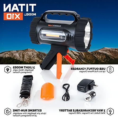 Rugged Camp Rechargeable - 1000 Lumens - High 10W LED - Light Tripod for Camping, Hiking, & Outdoors