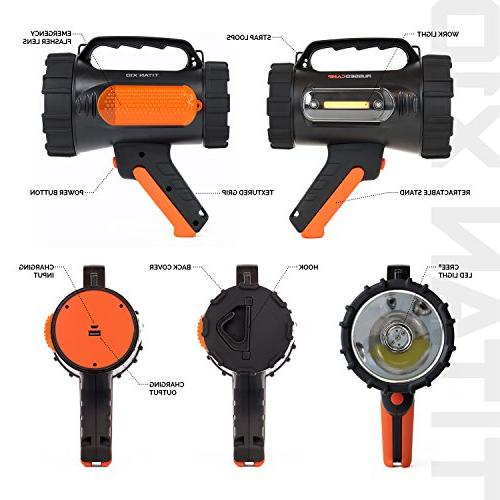 Rechargeable Spotlight - Lumens 10W LED Bright - Work Tripod Perfect Camping, Hiking, Hunting, Emergencies