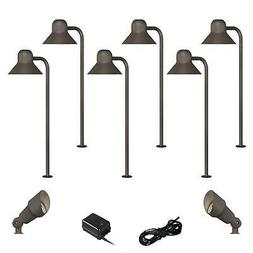 LED 10-Piece Landscape Set with Bronze Path and Spotlights