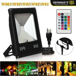 LED RGB Flood Light 10/20/30/50/100W Spotlight Security Lamp