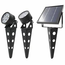 Mini 50X  Twin Solar-Powered LED Spotlight , Black Finish, O
