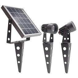 Mini 50X Twin Solar-Powered LED Spotlight , Gunmetal Finish