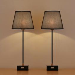 Modern Bedside Desk Lamps with Marble Base and Fabric Shade