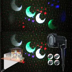 Outdoor Colorful Snowflake Laser LED SpotLight Rotating Proj