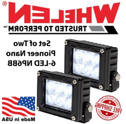 Whelen Pioneer Nano Black 6 LED Spot Flood Lights NP6BB Set