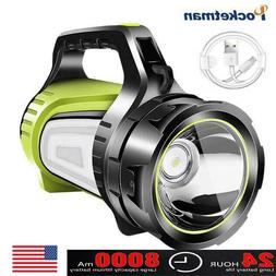 Powerful LED Searchlight Rechargeable Flashlight Spotlight T