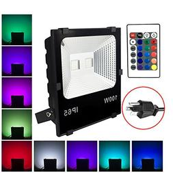 100W RGB LED Flood Lights, Waterproof Outdoor Color Changing