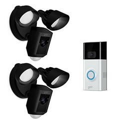 Ring Wireless Video Doorbell 2 with Floodlight Cam Black