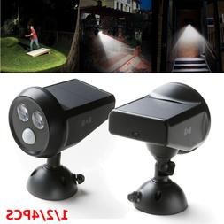 Solar Motion Sensor Wall LED Light Security Outdoor Path Spo