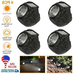 4xLED Rock Lights Solar Power Stone Spot Light Garden Spotli