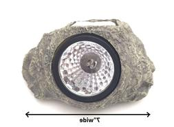 Solar Powered Rock Landscaping Spot 3-LED Light Garden Outdo