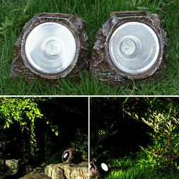 Solar Rock Landscaping Spotlights LED Light Outdoor Lawn Gar