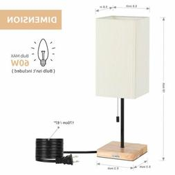 2PCS Square Nightstand Wooden Base Desk Lamp Shade Japanese-
