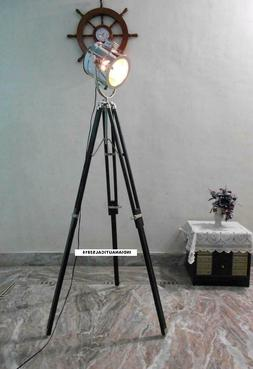 Vintage Spotlight Floor Lamp & Black Tripod Stand Chrome Fin