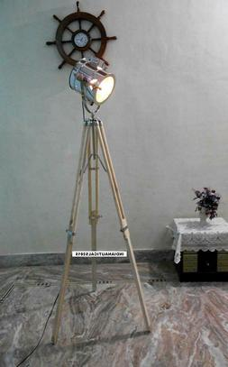 vintage spotlight floor lamp with wooden tripod