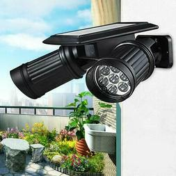 Waterproof 14LED Dual Head Solar Powered Yard Lights PIR Mot