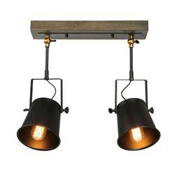 LNC Wood Close to Ceiling Spotlights 2 Track Lighting A03186